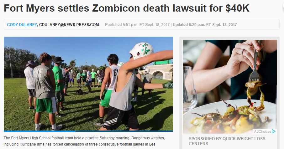 Fort Myers settles Zombicon death for 40K 1